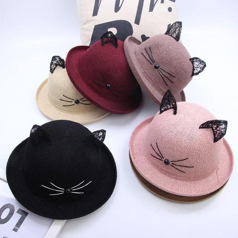 Kawaii Lace Kitty Ears Bucket Hat SP1710637