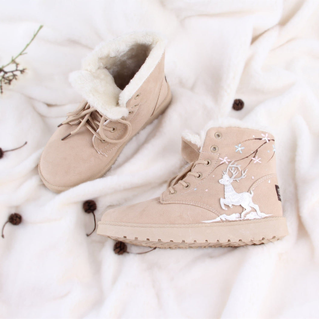 Khaki/Grey Snow Deer Fleece High Boots SP1711530