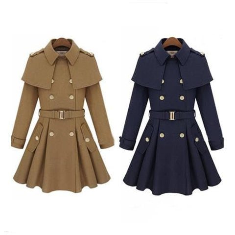 Khaki/Navy Elegant Midi Cape Woolen Coat SP1710971