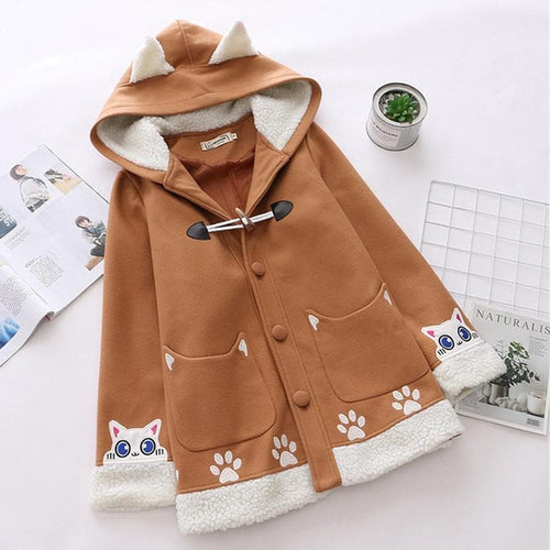 Khaki Kawaii Luna Cat Paw Woolen Coat SP14325