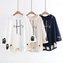 Load image into Gallery viewer, White/Apricot/Dark Blue Kitty Print Hooded Cape Coat