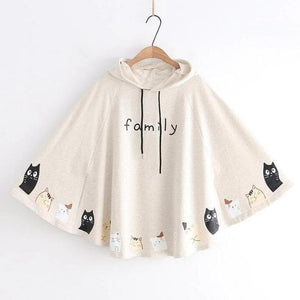 White/Apricot/Dark Blue Kitty Print Hooded Cape Coat