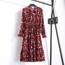 Load image into Gallery viewer, Korean Black Shirt Vestidos Office Polka Dot Vintage Autumn Dresses Women Winter Dress 2019 Midi Floral Long Sleeve Dress Female