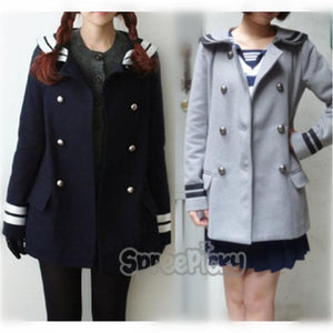 Korean Sailor High Quality Woolen Coat Double Brest SP130220