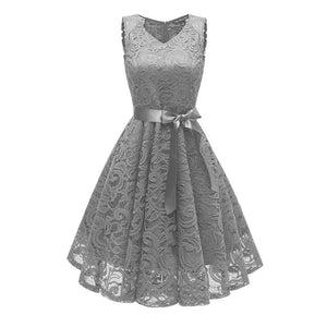 Lace Floral Bow Dress SP13898