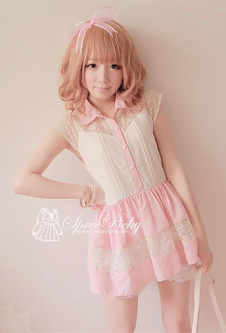 Lace Joint Slim Fit Chiffon short sleeve Top SP130166 - SpreePicky  - 2