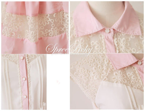 Lace Joint Slim Fit Chiffon short sleeve Top SP130166 - SpreePicky  - 5