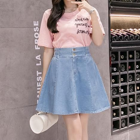 Light BlueDark Blue Sweet Denim Shorts Skirt S12738
