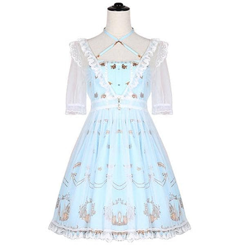 Light Blue/Navy Swan Maiden Two-Piece Dress SP1710726