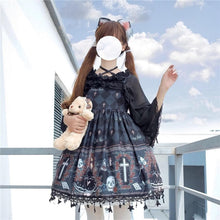 Load image into Gallery viewer, Lolita Gothic Ghost Pattern Printed Cosplay Dress SP15132