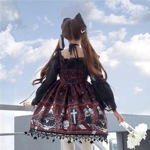 Lolita Gothic Ghost Pattern Printed Cosplay Dress SP15132