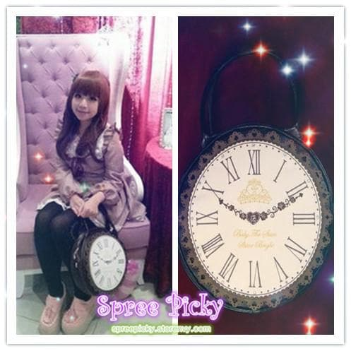 Lolita ALICE'Clock Hand Bag Alice In WonderLand Shoulder Bag 2 Way Used SP130322 - SpreePicky  - 1
