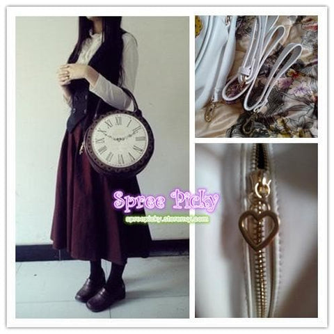 Lolita ALICE'Clock Hand Bag Alice In WonderLand Shoulder Bag 2 Way Used SP130322 - SpreePicky  - 2