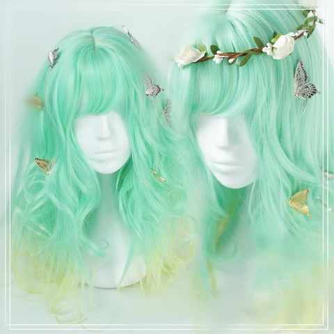 Pastel Fairy Green Yellow Gradient Wig SP166494
