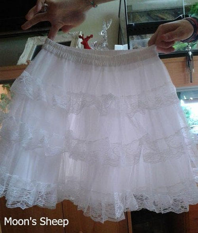 White/Black Lolita Kawaii Cute Lace 3 layers Petticoat Skirt SP130194 - SpreePicky  - 3
