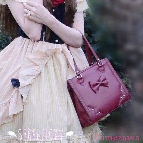 Lolita sweet bow rivet hand bag - 3 colors - SpreePicky  - 1