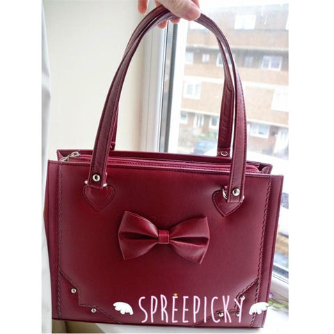 Lolita sweet bow rivet hand bag - 3 colors - SpreePicky  - 5