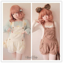 Load image into Gallery viewer, Lovely Heart Downy Woolen Strap Overalls SP140357 - SpreePicky  - 1