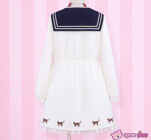 Sailor Moon Luna Printing Sailor Dress with Ribbon Necklace SP151690 - SpreePicky  - 2