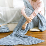 Blue/Red Mermaid Tail Knitted Blanket SP164884