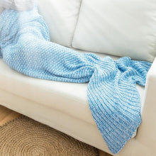 Load image into Gallery viewer, Blue/Red Mermaid Tail Knitted Blanket SP164884