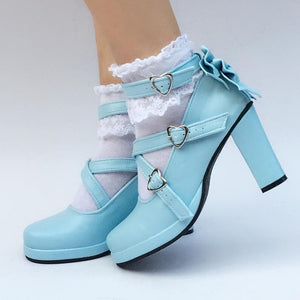 Mint/Blue/Silver Lolita Cute Bow Custom Made Shoes SP168032