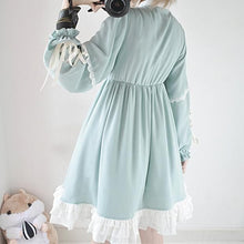 Load image into Gallery viewer, Mint Green Falbala Lace Long Sleeve Dress SP13190