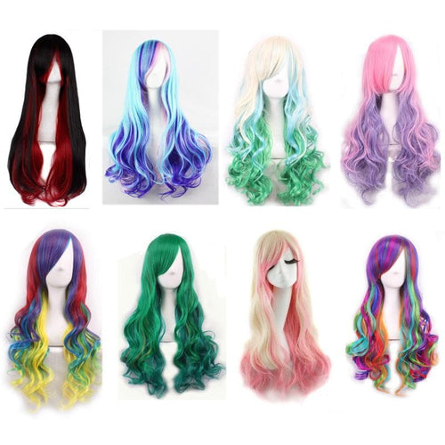 Multicolor Harajuku Long Curly Rainbow Wig SP13930