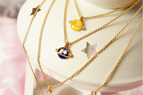 Pink/Navy/Yellow My Little Universe Planet Necklace SP152374