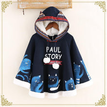 Load image into Gallery viewer, Navy/Beige Kawaii Cat Ears Fleece Hoodie Poncho S12845