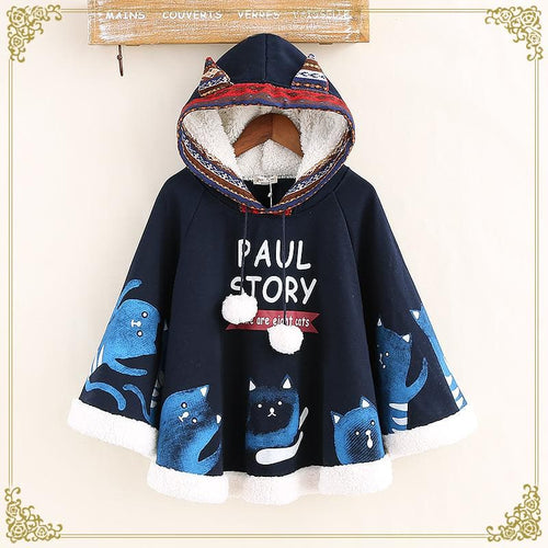 Navy/Beige Kawaii Cat Ears Fleece Hoodie Poncho S12845