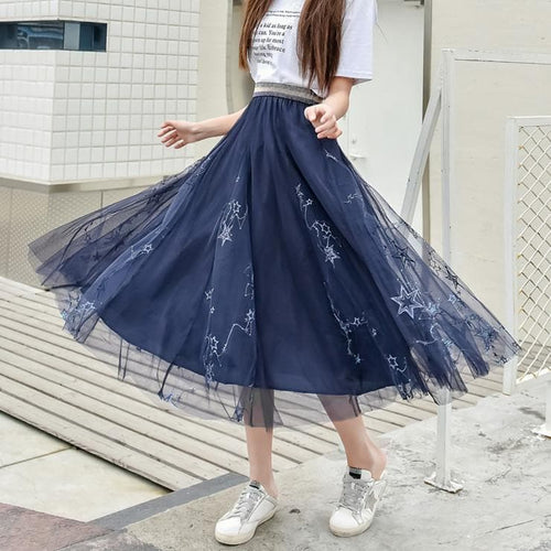Navy/Grey/Black Sweet Galaxy Star Maxi Skirt SP13919