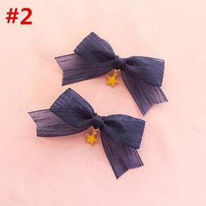 Navy/Pink Kawaii Star Moon Bow Hair Clip SP13402