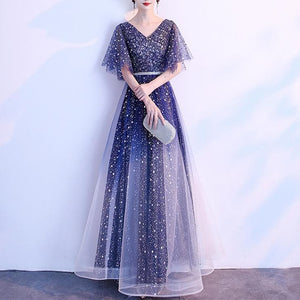 Navy Fairy Gradient Galaxy Maxi Dress SP14455