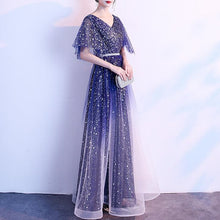 Load image into Gallery viewer, Navy Fairy Gradient Galaxy Maxi Dress SP14455