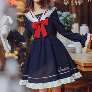 Navy Falbala Sailor Bow Thrones Dress SP13578