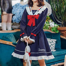 Load image into Gallery viewer, Navy Falbala Sailor Bow Thrones Dress SP13578