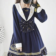 Load image into Gallery viewer, Navy Galaxy Bow Sailor Dress SP13189