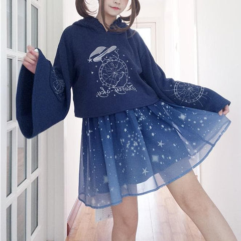 Navy Magic Starry Hoodie Jumper SP13686