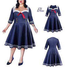 Load image into Gallery viewer, Navy Plus Size Vintage Sailor Bow Dress SP13867