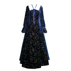 Navy Vintage Galaxy Paillette Maxi Dress SP14379