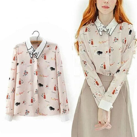 Neko Atsume  Cute Cat Collar Printing Blouse