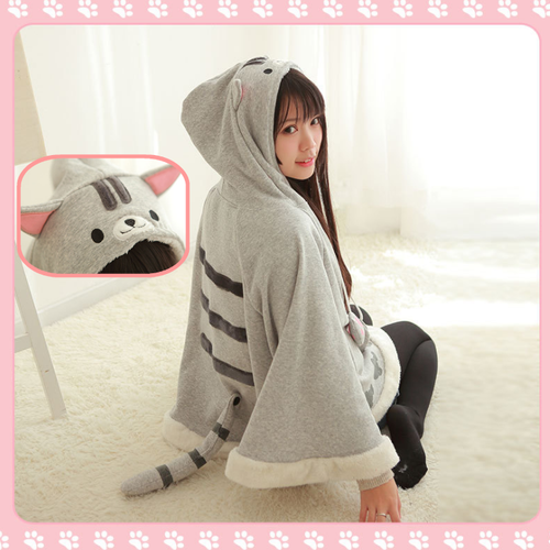 Neko Atsume Kitty Cat Sweater Hoodie Cloak Cape SP168276