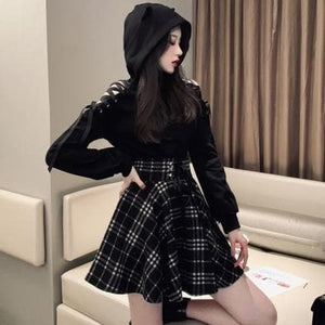 Gothic Suit Cat Ear Short Sweatshirt Tops And Lace Up Gingham High Waist Skirt SP14703