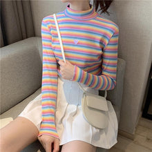 Load image into Gallery viewer, Sweet Rainbow Striped Heart Long Sleeve Turtleneck  Knitted Tops SP15155