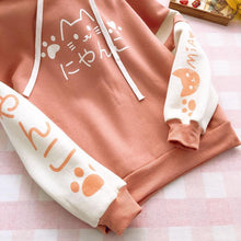 Load image into Gallery viewer, Pink/Navy Kawaii Neko Hoodie Jumper SP13333