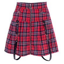 Load image into Gallery viewer, Red Plaid Harajuku Punk Rock Gothic Skirt S13002