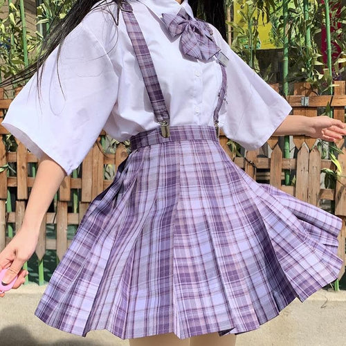 [Grape Soda] High Waist Pleated Skirts JK School Uniform SP15490