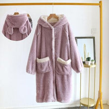 Load image into Gallery viewer, Funny Thickening Cardigan Cartoon Ears Hooded Nightgown SS0728