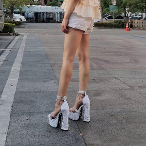 Trendy Hot Style White Pearl High Heels SP16231 - SpreePicky FreeShipping